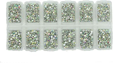 Deal 8640pcs Nail Rhinestones Flatback Crystals Nail Art Rhinestones 1.3mm-2.8mm AB Round Glass Gems Stones Beads for Nails Decoration Crafts Eye Makeup Clothes Shoes Mix 6 Size SS3-SS10