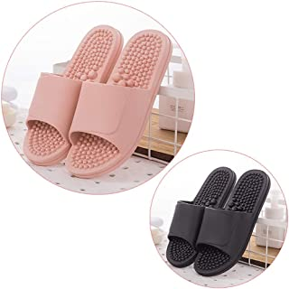 Massage Slippers Men Women Anti-skid Deodorant Acupuncture Points Thorn Particles Soft Bottom Foot Reflexology Foot Massage Home Indoor Slippers,2 Pairs (Color : E, Size : 22.5cm(8.86inch))