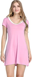 Womens Bamboo Sleep/Night/Pajama/Pj Shirt Gown - Short Sleeve V Neck