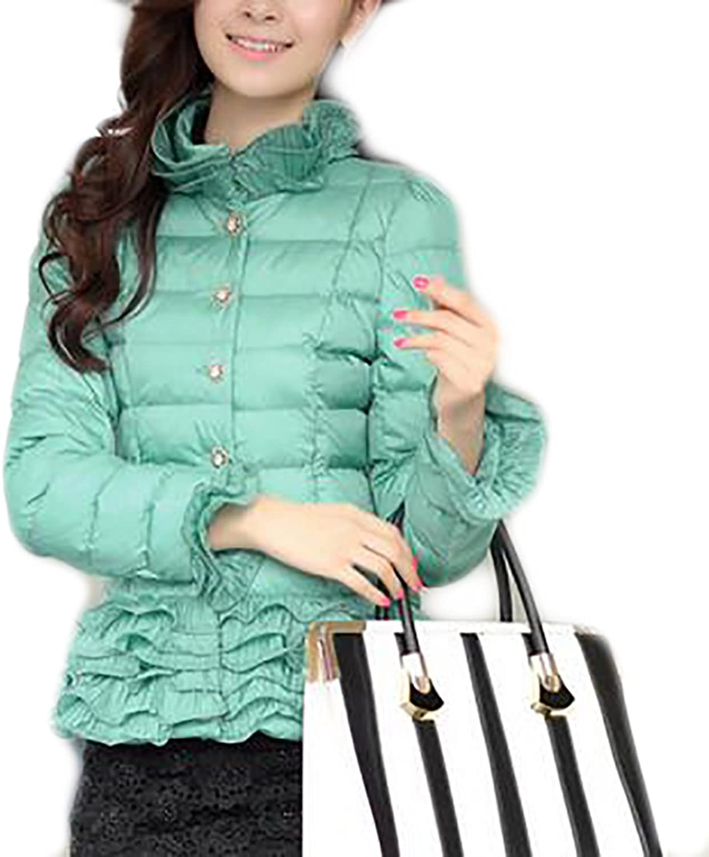 Smeiling Womens Basic Warm Single Breasted Slim Qulited Short Ruffle Down Jacket Coat
