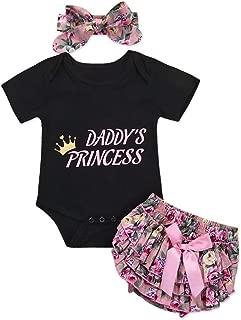 Newborn Baby Girls Short Sleeve Daddy's Princess Black Romper + Floral Bow Pants