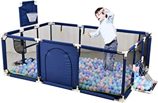 ROLENUNE Baby Playpen Portable Activity Center Play Yard Mat Infant Mesh Basketball Hoop Fence Indoor Outdoor Safety Barrier Balls Pit Base Toddlers Game Toy Fence for Kids Crawling Playground (Blue)