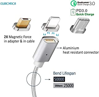Cellinnovation 3-in-1 Magnetic Lighting USB QC 3.0 Charging Data-Transmission Cable-Certified CE, FCC & RoHS - Quick-Charge Cable Compatible iPhone & Android - Type-C, Micro USB, Lightning
