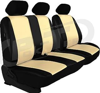 POK TER BUS Für Mercedes VITO W 638 und 639 maßgefertigter, modellspezifischer Sitzbezug für Bus/Transporter Fahrersitz + 2er Beifahrersitzbank Kunstleder (Beige)