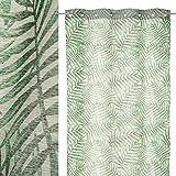 Visillo de Hojas Verde exótico de poliéster de 260x140 cm - LOLAhome