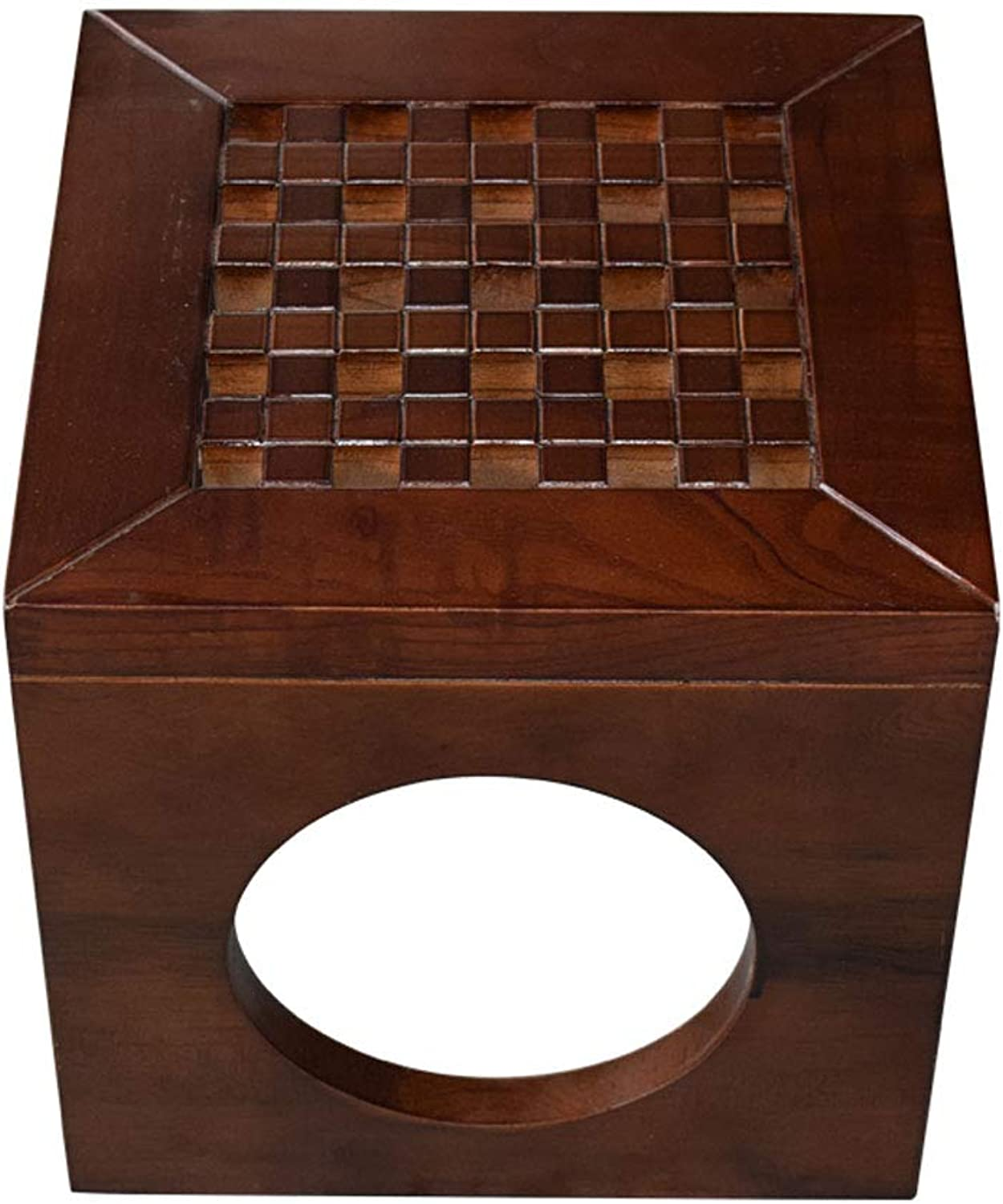 Square Stool Solid Wood Multi-Function Box Design Living Room Coffee Table Retro Small Bench V (color   D, Size   L28CMXW28CMXH28CM)
