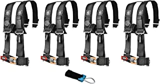 Pro Armor A114220 P151100 Black 4-Point Harness 2 Inch Straps, 4 Pack RZR UTV Seat Lap Belt with Bypass Clip