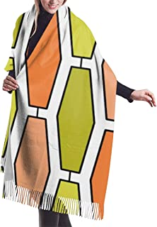Orange Avocado Mod Elongated Hexagon Shawl Wrap Winter Warm Scarf Cape Large Scarf Oversized Scarves For Women