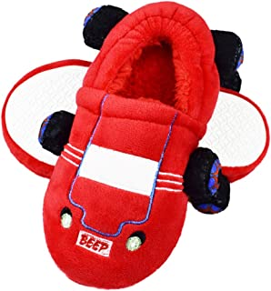 Tirzrro Boys Little/Big Kids Warm Plush Rocket Slippers with Memory Foam Sole Indoor Outdoor Shoes