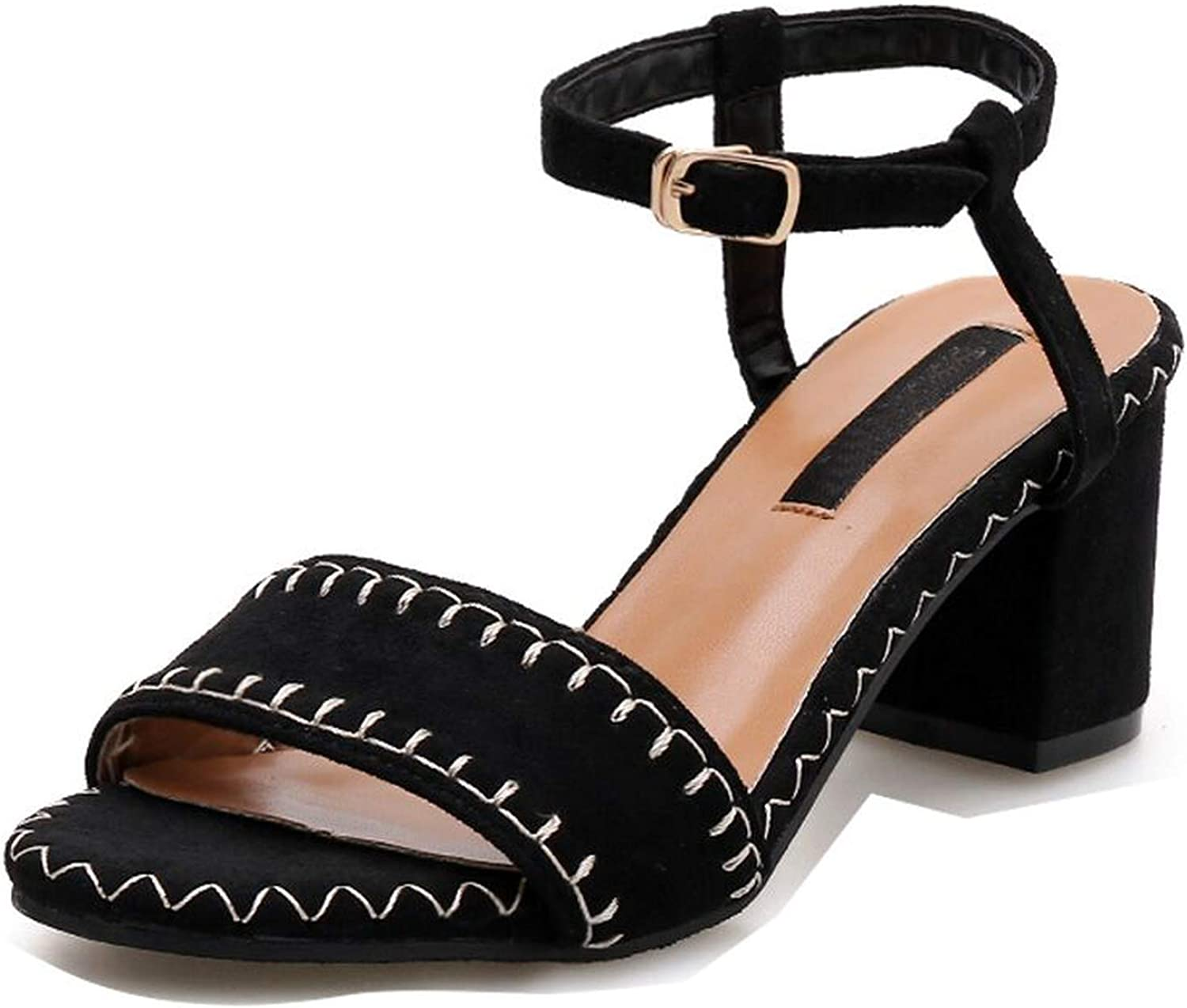 Flock Sexy Sandals Women Round Toe Square High Heels shoes Women Shallow Gladiator Sandals,Black,5