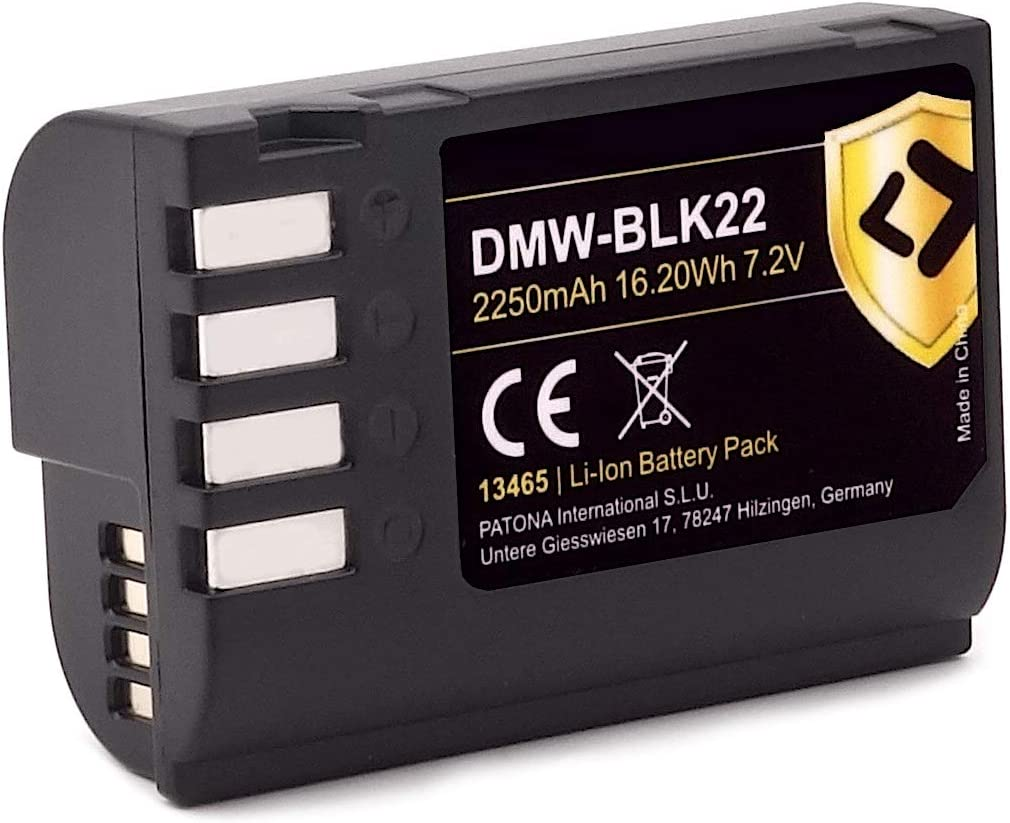 PATONA Protect V1 Akku DMW BLK22 BLK22E kompatibel mit Panasonic DC S5 S5K G9 GH5 GH5S 2250mAh