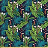 Ambesonne Leaf Fabric by The Yard, Tropical Jungle Palm Tree Banana Leaves Frangipani Heliconia on a Dark Blue Background, Decorative Fabric for Upholstery and Home Accents, 2 Yards, Green Teal