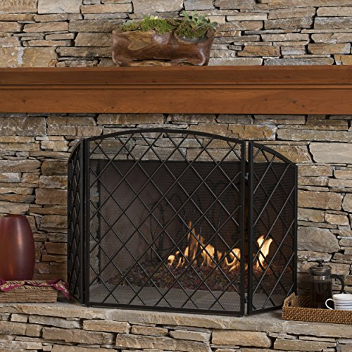 For Sale! Christopher Knight Home Angella 3 Panelled Black Iron Fireplace Screen
