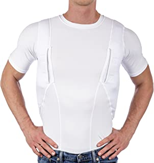 CCW Tactical Holster Shirt for Concealed Carry Compression Fit Clothing with Right and Left Hand Draw Handgun and Magazine Pockets, All Season Moisture Wicking, Mens
