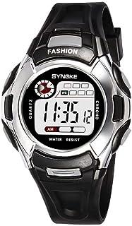 Yuanhua Students Watch, Fashionable Kids Waterproof Multi-functional Electronic Luminous Watch PU Plastic Watch Band