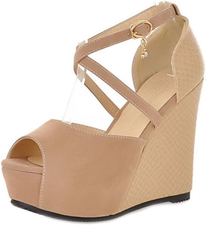 Smilice Women Fashion Cross Strap shoes High Heel Peep Toe Platform Sandals Black