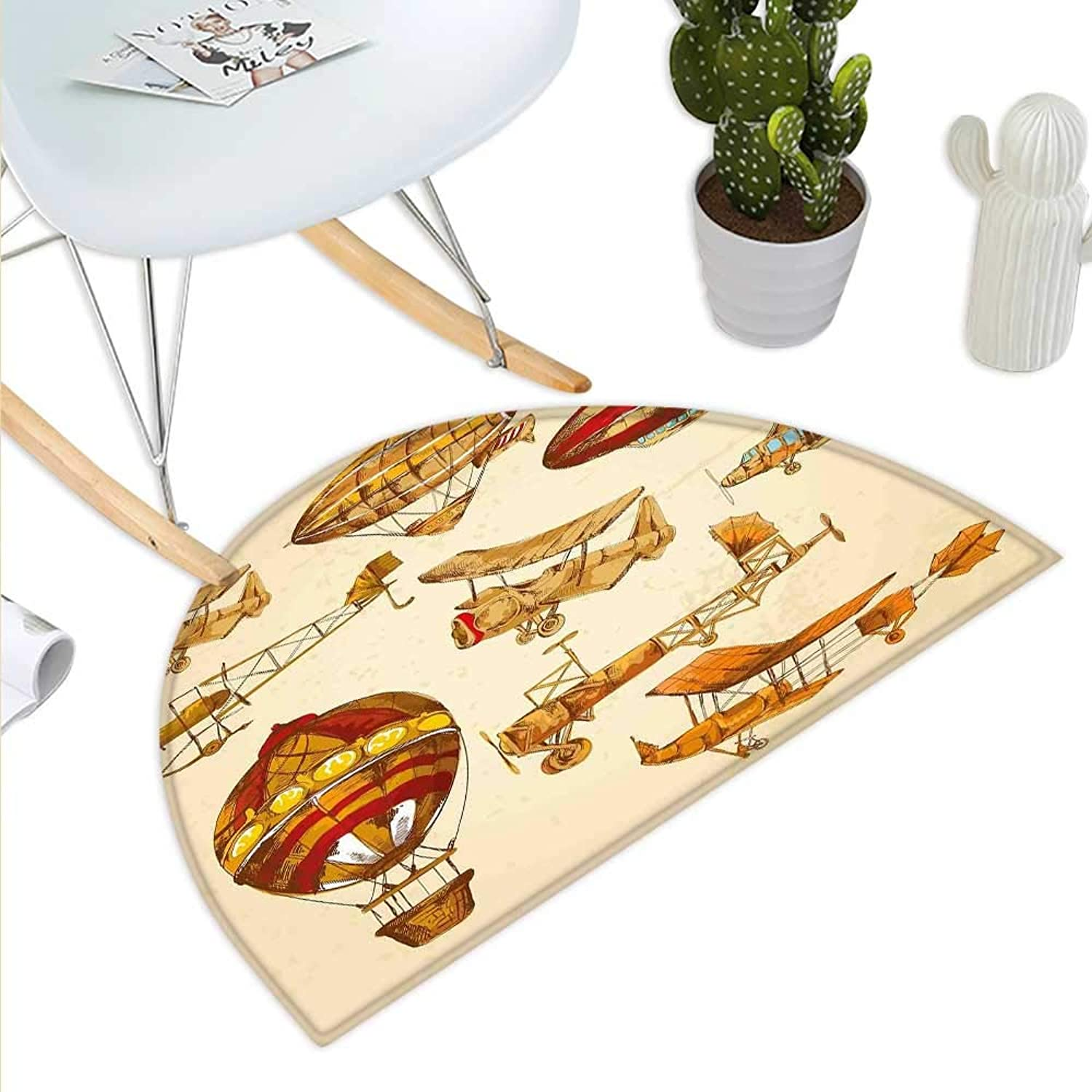 Aviation Semicircle Doormat Vintage Old Flying Objects Hot Baloons Planes Parachutes Print Halfmoon doormats H 35.4  xD 53.1  Sand Brown Apricot Mustard Red