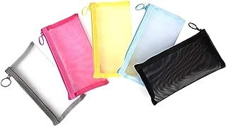 Patu Zipper Mesh Bags, Pencil Case, 5 Pieces, Beauty Makeup Cosmetic Accessories Organizer, Travel Toiletry Kit Set Storage Pouch, Assorted Colors