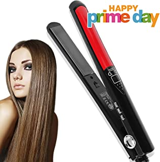 Hair Straightener Professional Detangling Hair Brush Hair Styling Comb Digital Anti Static Anti-Scald Ceramic Heating Iron Pink Hair Massage Straightening Irons (Black and Red)