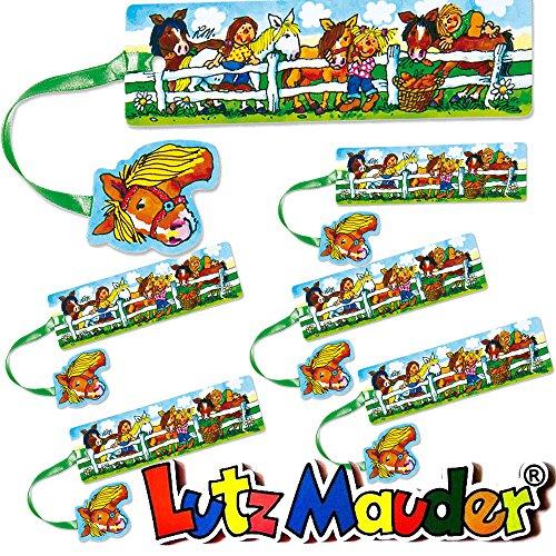 Lutz Mauder 6 Lesezeichen * Mein Ponyhof * mit Kordel und Anhänger Geschenk Bücher Buch Kinder Lesen Mitgebsel Pferd Pony Mädchen Set