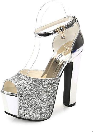 zapatos De Tacón Europa Y América Damas Artificiales Moda PU 14 Cm Sexy Discoteca Salvaje Gruesas Sandalias De Tacón Alto