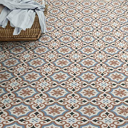 PVC Bodenbelag Fliese Alhambra Rot mit Textilrücken (Musterstück in DIN A4)