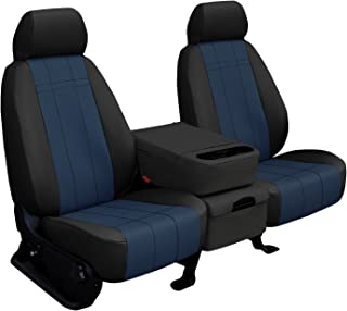 Third Row SEAT: ShearComfort Custom Imitation Leather Seat Covers for Chevy Tahoe (2000-2006) in Black w/Blue for 50/50 Split Bench w/Adjustable Headrests and Seatbelts in Backrest