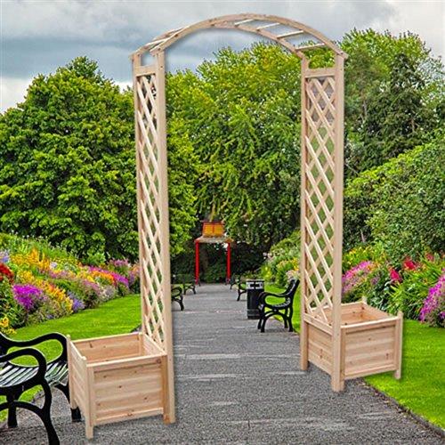 Melko Rosenbogen aus Holz Rankhilfe für Kletterpflanzen Pergola Gartenbogen inkl. 2 Pflanzkübel