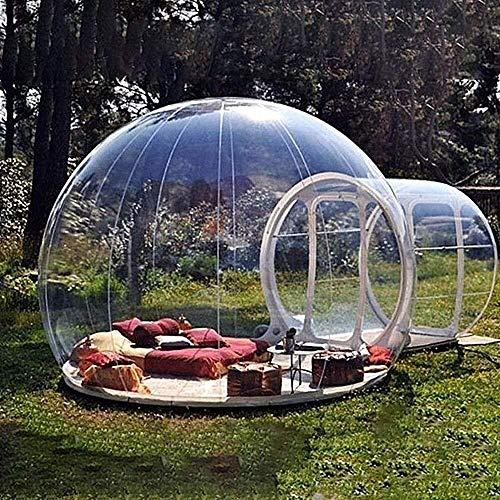 Sucastle Aufblasbares Blasenzelt im Freien mit einem Tunnel Gewächshaus Pavillon Baldachin Camping Hinterhof Transparentes Zelt Großes übergroßes Wettergehäuse mit Gebläse und Luftpumpe