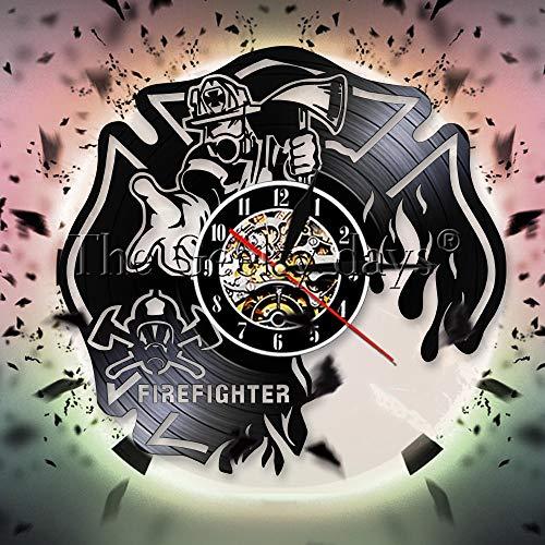 Njuxcnhg Schallplatte Wanduhr, Retro Wanduhr, dekorative Wanduhr,Feuerwehrmann feuerabteilung wohnkultur feuerwehrmann wanduhr feuerwehrhelm feuerrettung Feuerwehr g