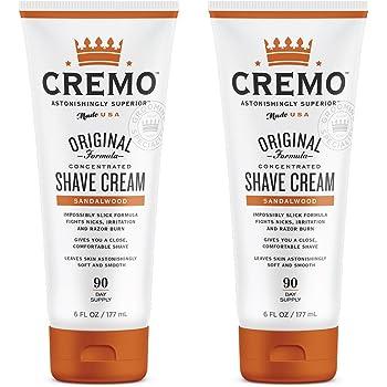 Cremo Barber Grade Sandalwood Shave Cream, Astonishingly Superior Ultra-Slick Shaving Cream Fights Nicks, Cuts and Razor Burn, 6 Oz (2-Pack)