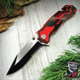 Pocket Elite Spring Assisted Folding Knife Black Serrated Blade Red Scorpion Rescue EDC + free eBook by ProTactical'US