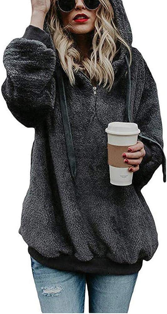 HONGJ Fluffy Hoodies for Womens, Plus Size Fuzzy Cozy Warm 1/4 Zipper Lightweight Hooded Sweatshirts Drawstring Pullover