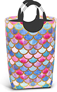 Colorful Kawaii Mermaid Background Laundry Hamper Princess Rainbow Scales Pattern Collapsible Laundry Basket with Handles ...