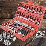 Juego de llaves de vaso compuesto por 46 piezas con llave de tubo, carraca reversible, adaptador de carraca, juego de herramientas para el hogar, coche, moto