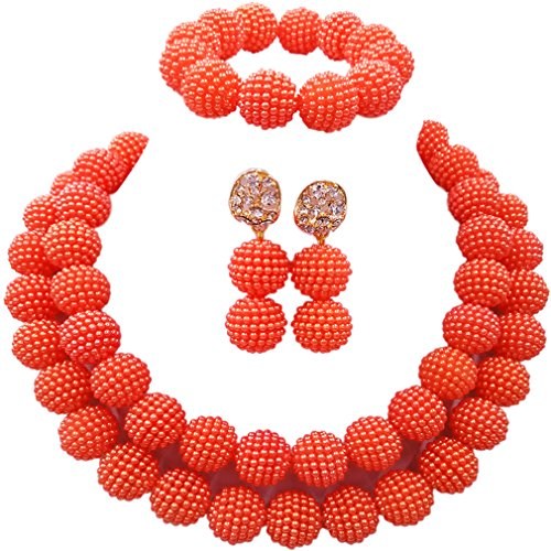 aczuv Fashion Women Nigerian Wedding African Beads Simulated Pearl Bridal Jewelry Sets (Orange)