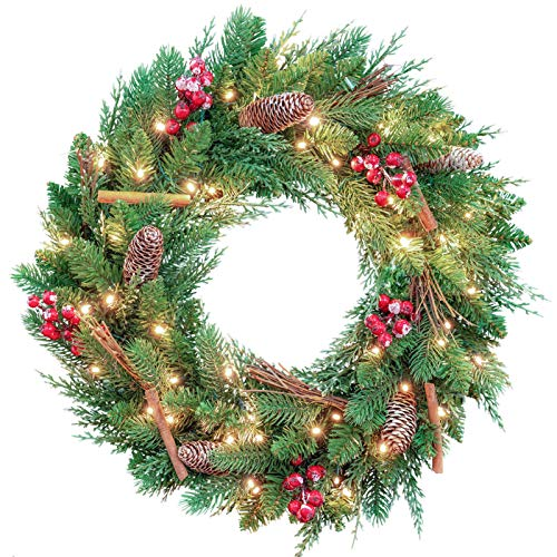 AMERZEST Pre-lit 24 inch Christmas Wreath,Flocked Red Berries,Cinnamon Stick,Colorful Glitter Pine Cone,50 Battery Operated LED Lights with Timer,Artificial Holiday Decoration for Front Door Outdoor