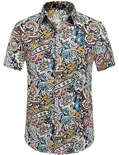 SSLR Camisa De Manga Corta Con Estampado De Flores Estilo Hawaiano Moderno De Hombre (Small, AFD-169)