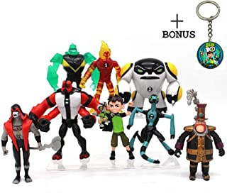 Ben 10 Action Figures – 9-Piece Ben10 Figurine Set with Keychain – Includes Four Arms, Grey Matter, Kineceleran, Diamondhead, Tennyson – Safe and Durable