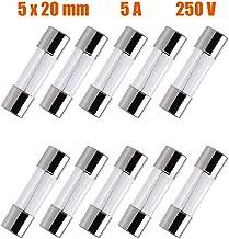 SIXQJZML 10 Pack F5AL Fast-Blow Fuse 5A 250V Glass Fuses 0.2 x 0.78 inch / 5 x 20 mm (5amp) (F5A)