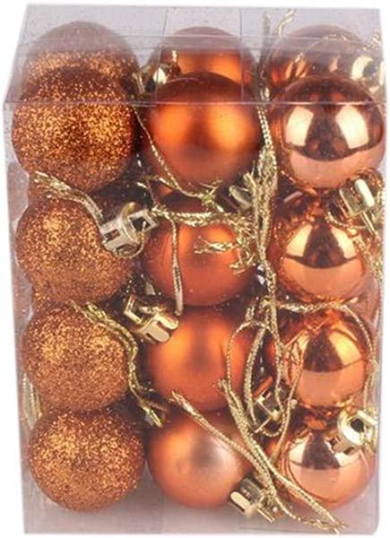 Hot Sale Christmas Tree Decor Ball Lelili Fantastic 24Pcs Xmas Hanging Decor Ball Home Party Tree Ornament Decor 30mm Orange