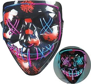 NIWWIN Halloween LED-masker, horrormasker, Halloween-decoratie, kleurenmasker die kan worden verlicht, speciaal kostuummas...