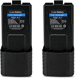Replacement Battery for Baofeng (7.4V 3800mAh BL-5) Walkie Talkies BF-F8HP UV-5R UV5R Plus UV-5RTP UV-5RB BF-F8 BF-F8+ (2 Packs)