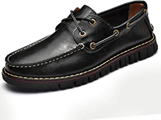 Mens Slip on Loafer Genuine Leather Casual Boat Shoe Non-Slip Comfort Driving Moccasin Breathable Fashion Business Shoe …