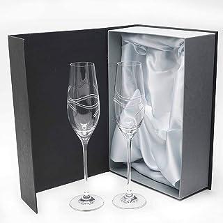 comprar comparacion la galaica | Juego de 2 Copas para Champagne o Champán de Cristal Cava y Espumoso + Estuche Presentación con Tela Raso | R...