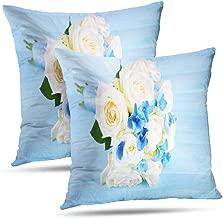 Pakaku Blue Wooden Pillowcase, Throw Pillow Covers, Beautiful Bouquet Roses Blue Beautiful Bouquet Cushion Cover Gift 2 Sided Pattern 20 x 20, Beautiful Bouquet 03
