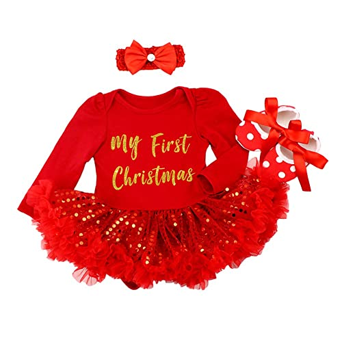 8d9ca031b0d1 Baby Girls My 1st Christmas Costume Romper Dress with Headband Leg Warmers  Shoes Santa Claus Polka