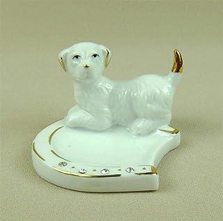 WDDqzf Ornaments Adornos Escultura Figurilla Estatuas Ornamentos Porcelana Labrador Retriever Joyería Plato Cerámica Decorativa Modelo De Herradura Joyas Organizador Adorno De Artesanía Accesorios, Bl