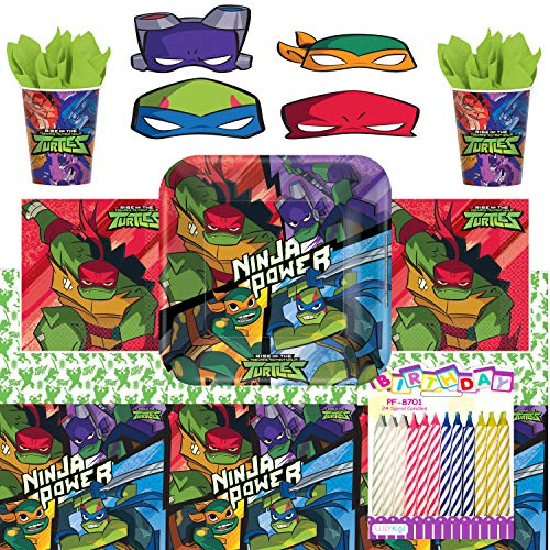 TMNT Teenage Mutant Ninja Turtles Theme Birthday Party Supplies Pack 65pcs Serves 8 - Table Cover | Large Plates | Cups | Luncheon Napkins | Character Masks | Birthday Candles