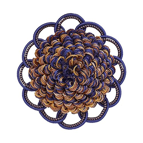 Decorative Rosette 64mm, Ultramarine Blue, Tan / Baroque Collection Style# BR Color: NAVY TAUPE - 5817